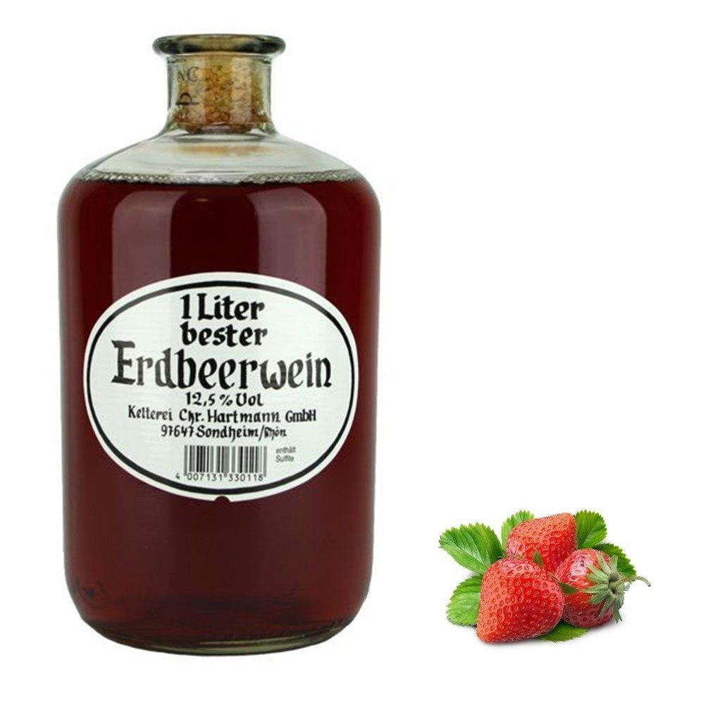 Hartmann - 1 Liter bester Erdbeerwein in der Apothekerflasche